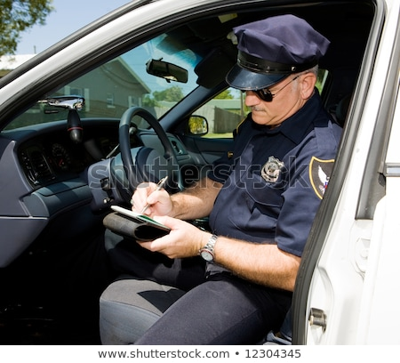 politie · schrijven · ticket · politieagent · verkeer · jammer - stockfoto © lisafx