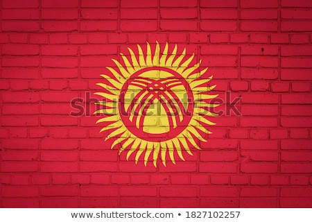 ストックフォト: フラグ · キルギスタン · レンガの壁 · 描いた · グランジ · テクスチャ