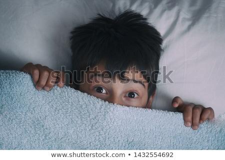 Fiú rejtőzködik kicsi mögött pulóver gyermek Stock fotó © silent47