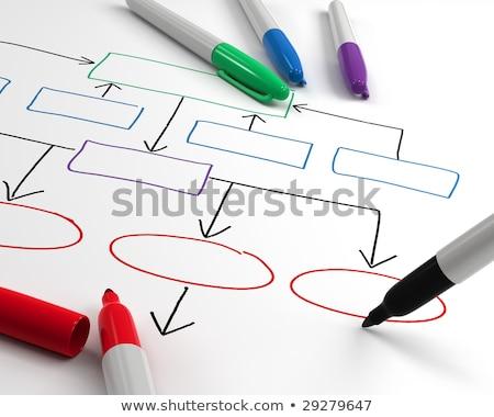 strategie · stroomschema · Rood · fiche · mannelijke · hand - stockfoto © sidewaysdesign