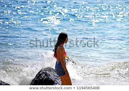 Szexi gyönyörű fiatal nő fürdőruha tengerpart nő Stock fotó © acidgrey
