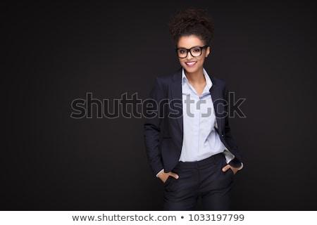 brunette · costume · noir · jeunes · mode - photo stock © acidgrey