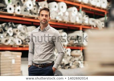 jeune · homme · permanent · rouler · tapis · maison · homme - photo stock © photography33