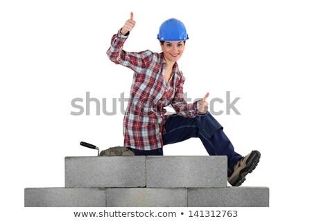 女性 石工 座って 壁 ストックフォト © photography33