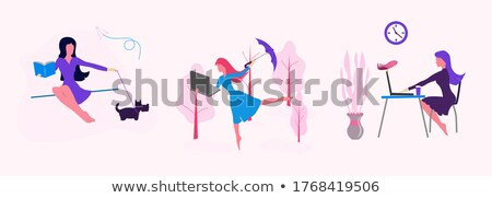 Vrouw paraplu portret mooie vrouw geïsoleerd witte Stockfoto © grafvision