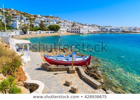 白 · ローイング · ボート · ギリシャ · 水 · 太陽 - ストックフォト © elinamanninen