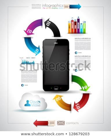 infographics desgin template with phone stock photo © davidarts