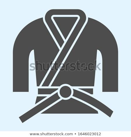 Stock photo: Karate pictogram on blue background
