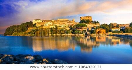 város · víz · templom · kék · tó · kint - stock fotó © bigjohn36