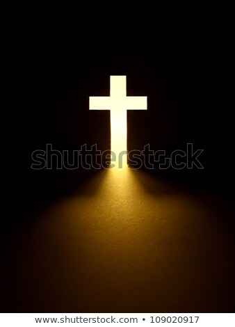 ストックフォト: クロス · ライト · 黄色 · 教会 · 木製 · 壁