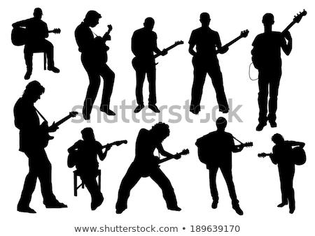 zenészek · basszus · gitárosok · sziluettek · gitár - stock fotó © koqcreative