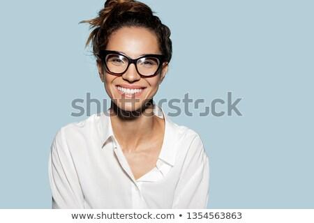 charmant · jonge · vrouw · naar · Blauw · shirt - stockfoto © pablocalvog