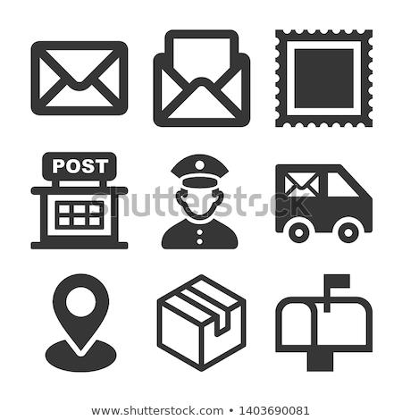 Icono oficina de correos edificio bandera escaleras Foto stock © zzve