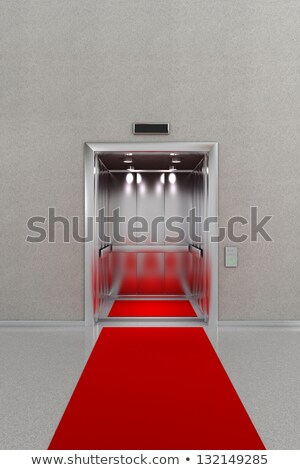 Abierto ascensor alfombra roja hotel rojo interior Foto stock © creisinger