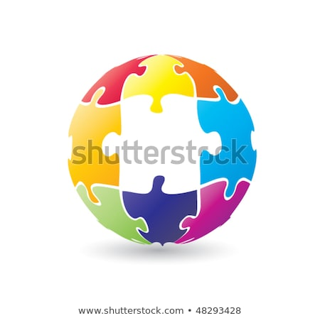 Foto stock: Glossy Puzzle Colored Pieces