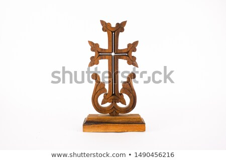 old antique bible and cross on a white background stock photo © michaklootwijk