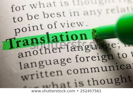 Tradução definição dicionário comunicação imprimir branco Foto stock © sqback