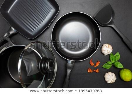 Neue pan Mann halten Kochtopf Keramik Stock foto © Stocksnapper
