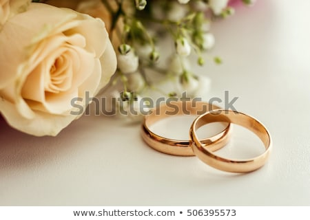 Stock photo: bride bouquet and rings
