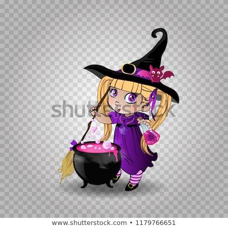 felice · halloween · carta · giovani · strega · zucche - foto d'archivio © carodi