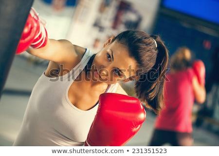 Boxe caber retrato mulher da aptidão Foto stock © jayfish