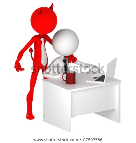 Devil standing behind office worker. Unfair business concept. Stock photo © Kirill_M