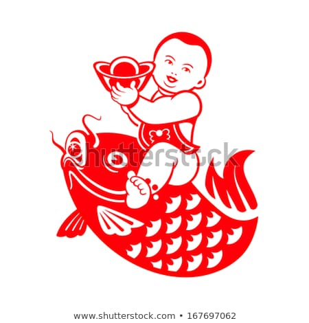 Boy riding a carp Stock photo © sahua
