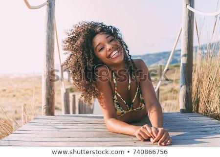 Kobieta czarny bikini długo czarne włosy stanowią Zdjęcia stock © maros_b