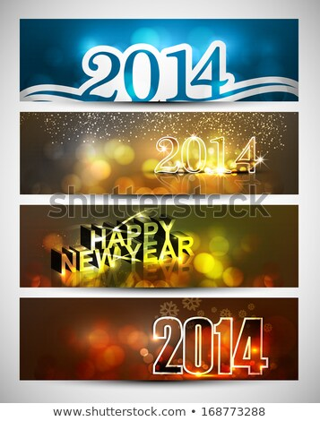 new year 2014 bright colorful four headers and banners set vecto stock photo © bharat