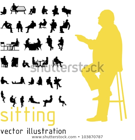 Business people sit cross-legged  in silhouette Stock photo © Istanbul2009