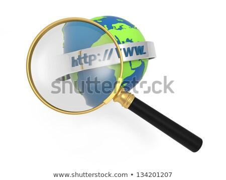 glass globe earth map 3d green and cursor with internet address stock photo © mizar_21984