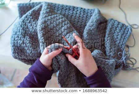 Tığ işi parça battaniye büyükanne kareler uzay Stok fotoğraf © Es75