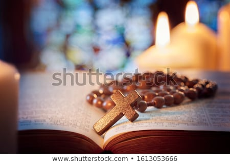 candles and crucifix in church Stock photo © Mikko