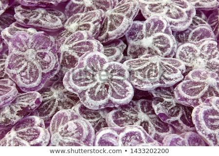 Cristalizado violeta flores pergaminho papel comida Foto stock © elenaphoto