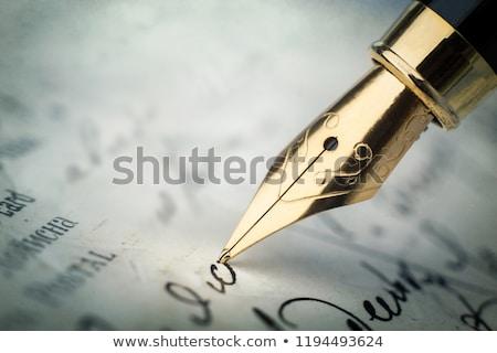 золото авторучка подписи Focus наконечник пер Сток-фото © ambientideas