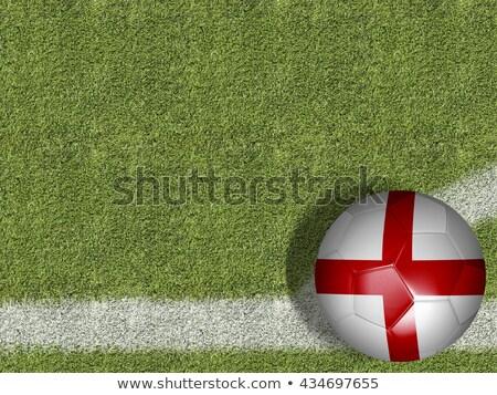 soccer ball with england flag on pitch stock photo © stevanovicigor