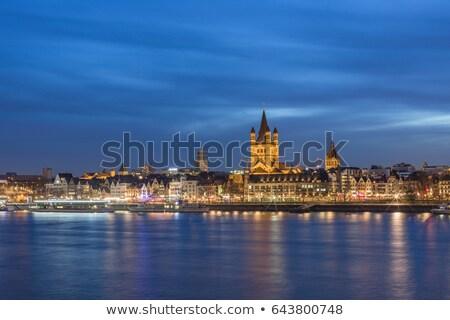öreg · történelmi · híd · Frankfurt · délelőtt · fő- - stock fotó © ifeelstock