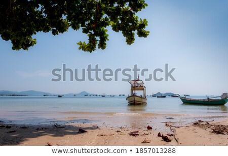 海 日没 グロー 雲 セーリング 漁船 ストックフォト © shihina