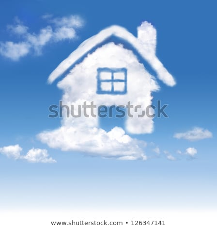 Maison nuages ciel rêves porte fond Photo stock © cherezoff