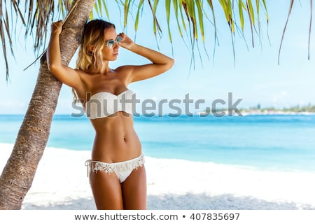 belle · sexy · girl · posant · maillot · de · bain · jeunes · brunette - photo stock © dolgachov