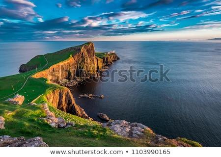 vuurtoren · eiland · groot-brittannië · reserve · strand · zee - stockfoto © franky242