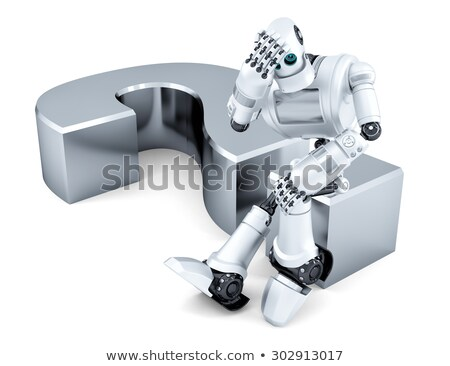 business man sitting on a question mark business concept isolated contains clipping path stock photo © kirill_m