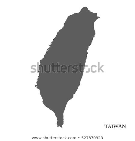 силуэта карта Тайвань знак белый Сток-фото © mayboro