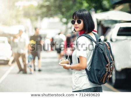 Stijlvol vrouwelijke reiziger Bangkok portret kaukasisch Stockfoto © kasto