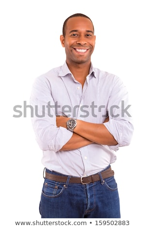 portrait of a happy african american young businessman isolated over white background stock photo © deandrobot