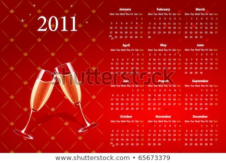 Vector Red Calendar 2011 With Champagne Stock fotó © Elisanth