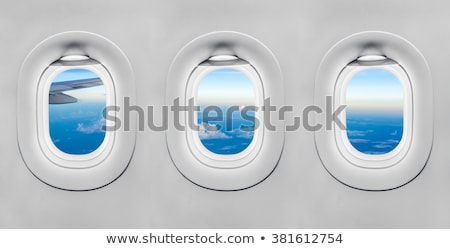 landscape of mountain view from airplane window stock photo © sarymsakov