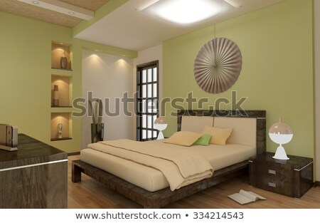 green bedroom with ceiling fan stock photo © iofoto