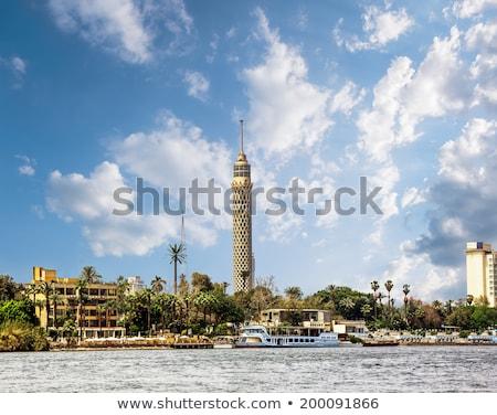 Каир телевизор башни лодках реке Египет Сток-фото © smartin69