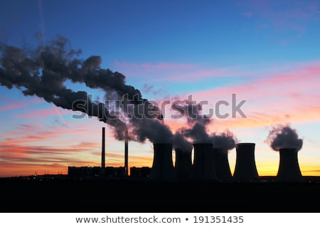 Red and White Power Plant Industrial Chimney Pipe Stock photo © stevanovicigor